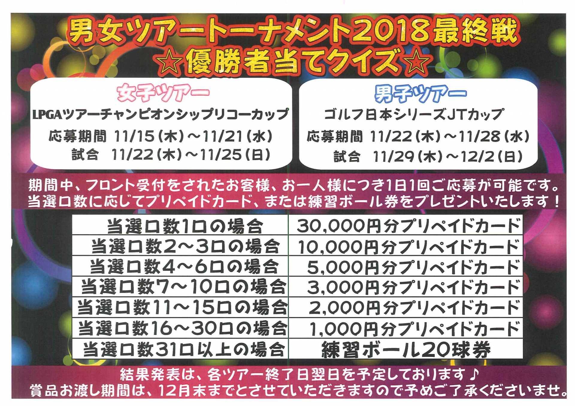 男女ツアートーナメント2018最終戦 優勝者当てクイズ
